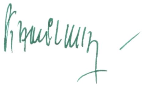 pospis Autorki zielonym długopisem